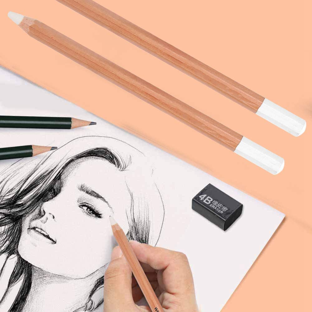 Leyee 2Pcs White Charcoal Pencil Wood Professional Sketching Pen Stationery for Art Painting Supplies