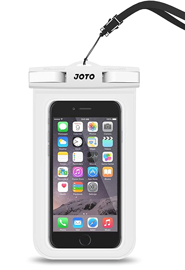 "JOTO Universal Waterproof Pouch Cellphone Dry Bag Case for iPhone XS Max XR XS X 8 7 6S Plus, Samsung Galaxy S9/S9 +/S8/S8 +/Note 8 6 5 4, Pixel 3 XL Pixel 3 2 HTC LG Sony MOTO up to 6.0"" –White best waterproof phone pouches"