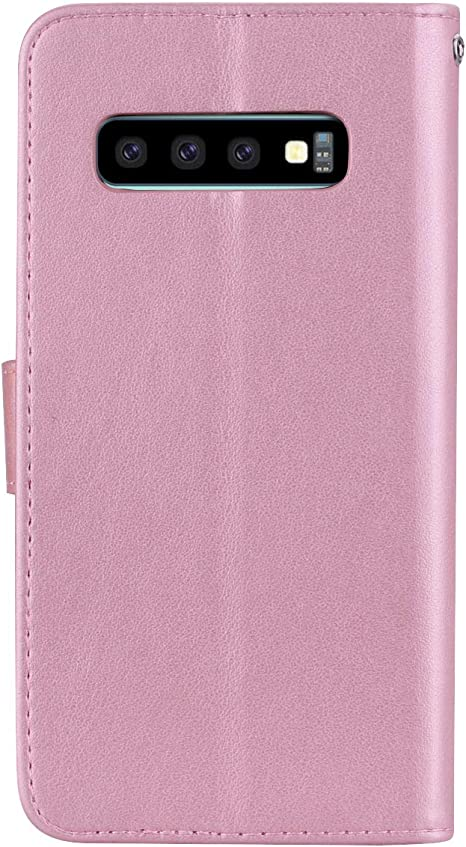 Amocase Wallet Case with 2 in 1 Stylus for Samsung Galaxy S10,3D Bling Gems Owl Magnetic Mandala Embossing Premium Strap PU Leather Card Slot Stand Case for Samsung Galaxy S10 Rose Gold