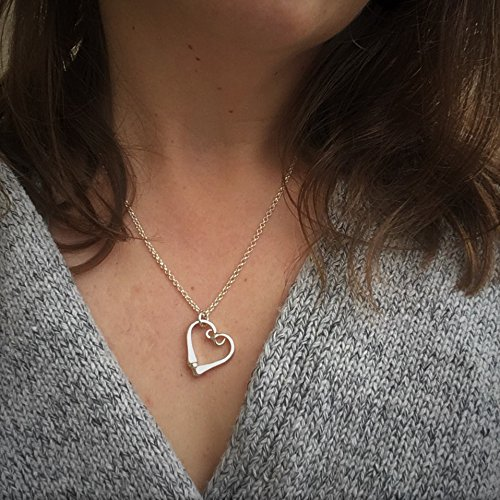 - Sterling Silver Horseshoe Nail Heart Necklace, Mothers Day Gift, Equestrian Gift