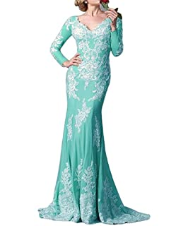 FOLOBE Long Sleeve Lace Mother Of The Bride Dress Mermaid Formal Evening Gown