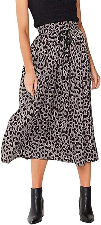 PARVAL Mujer Falda Larga Elegante con Estampado de Leopardo de una ...