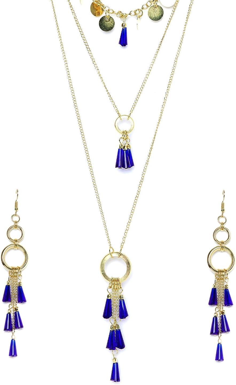 ZeroKaata/Fashion Jewellery Golden Chain Earrings With Black Beads For Women /& Girls