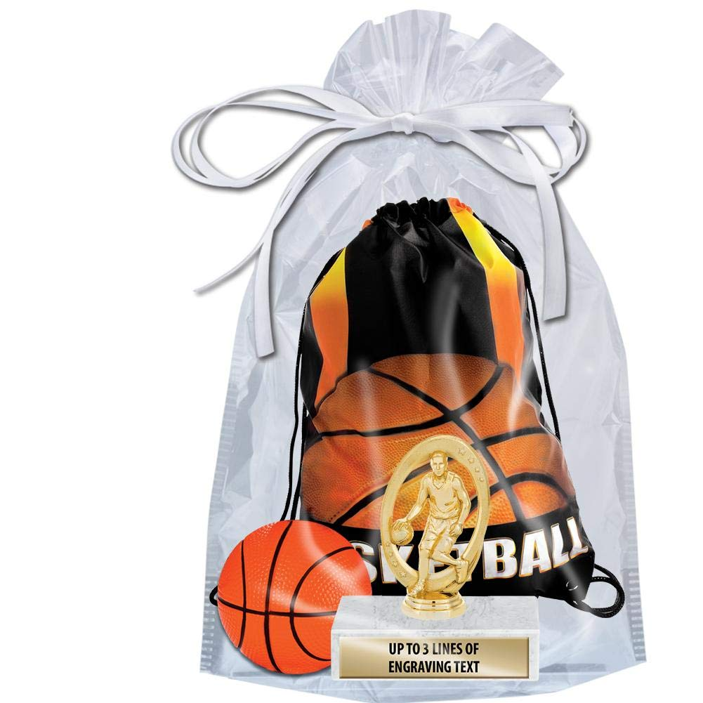 Crown Awards Basketball Goodie Bags, Basketball Favors for Basketball Themed Party Supplies Comes with Personalized Boys Basketball Trophy, Squishball and Basketball Drawstring 50 Pack by Crown Awards (Image #2)