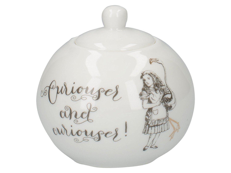 Victoria and Albert Alice in Wonderland Porcelain Sugar Bowl and Creamer Set