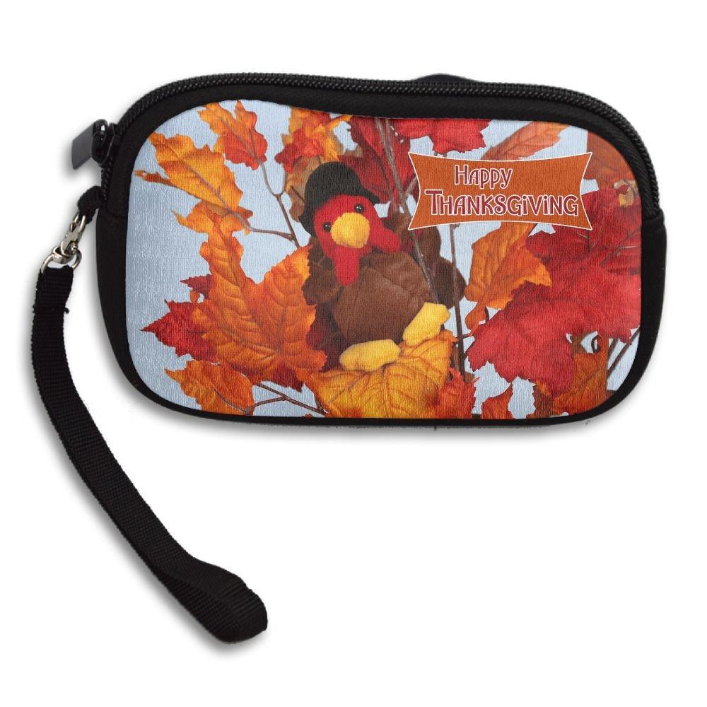 Jimres Fashion Women Lady Wristlet Bag Small Wallet With Zipper Girls Coin Purse Thanksgiving Day Pattern Wallets Clutch Bag Handbag