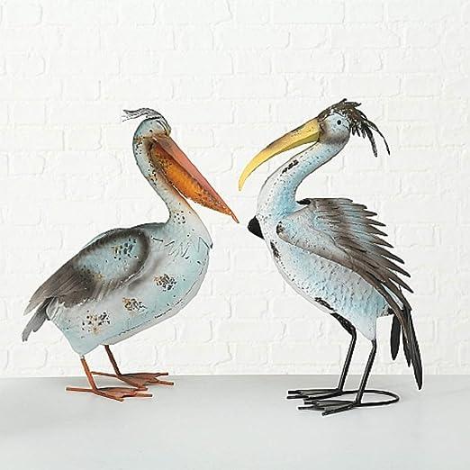 Juego de 2 Figuras Aves Pelicanos Decoración Jardín en Metal ...
