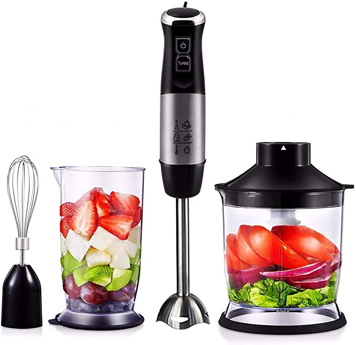 XIAO WEI Hand Blender - Hand Blender 4 in 1 800 W 500 ml Food Processor 500 ml Mug with Whisk and BPA-Free Plastic Cup Black (JJ-07013) - 3 Year Guarantee Black