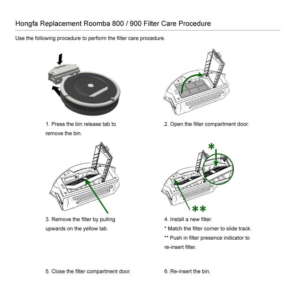 Honfa kit 800 Series, 900 SERIES Hongfa 6pcs filtro HEPA per iRobot Roomba 800 870 880 980 filtri di ricambio per aspirapolvere