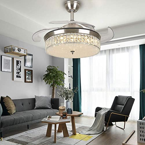 Crystal Ceiling Fan Lights LED Dimmable Chandelier Retractable Fan with Remote Mute Ceiling Fans for Dining Room Bedroom 42 inch Silver