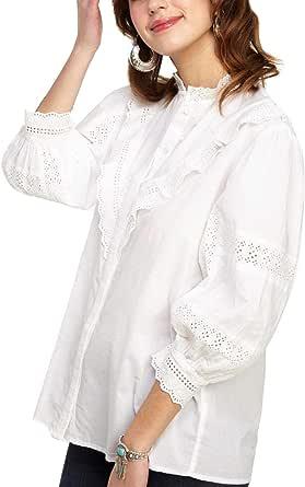 Naf Naf Camisa Bordados y Volantes Blanca Mujer