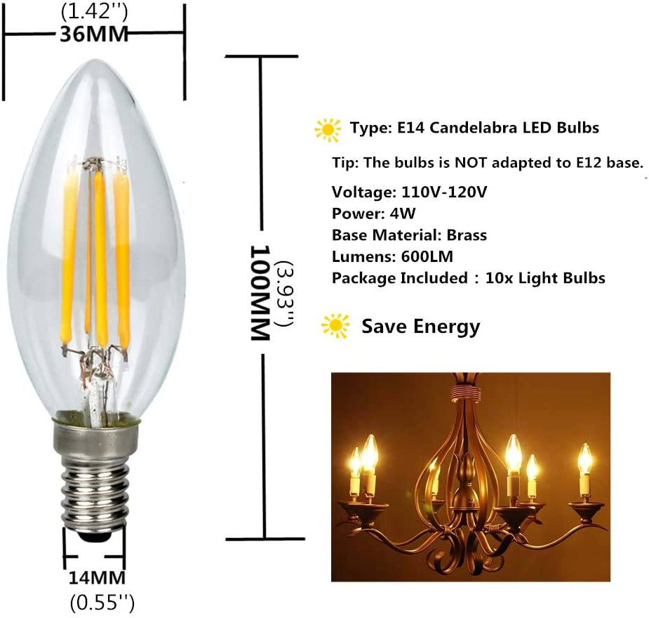 E14 Lamp SES Instant On Pearl Candle Light Bulb 4x 5W LED Ultra Low Energy