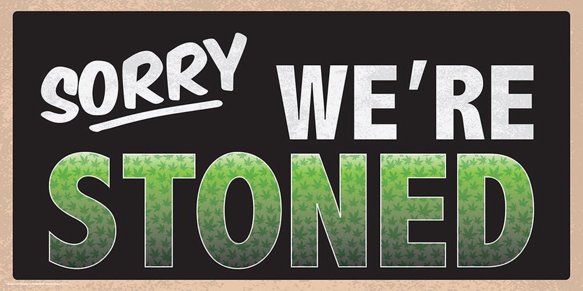 Culturenik Sorry were Stoned Weed Marijuana Pot Novelty Drug Smoking Humor Poster Print 12 x 24 inch Print (Unframed Print)