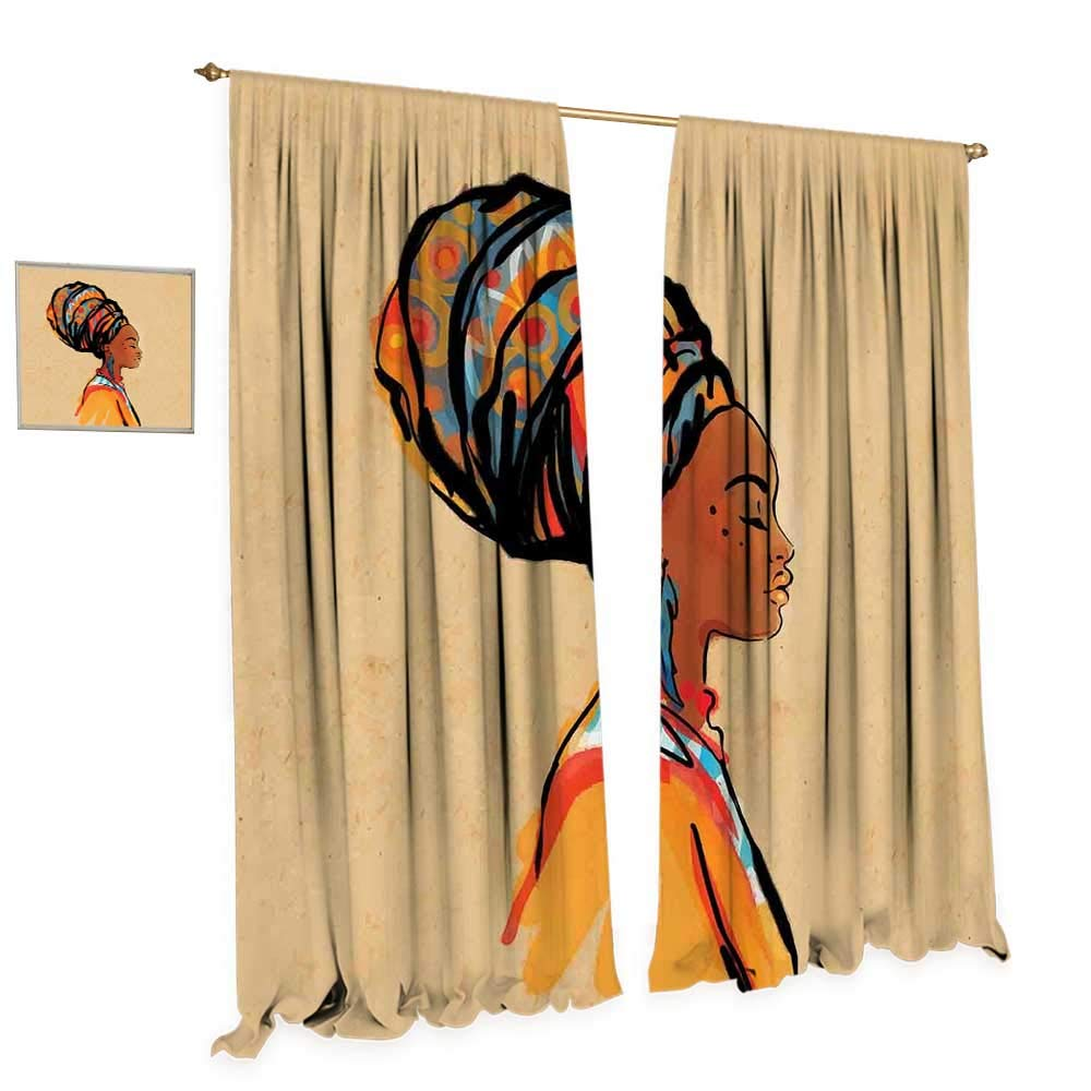cobeDecor African Blackout Window Curtain Ethnic Woman with Exotic Feather Earring and Scarf Zulu Hippie Artwork Customized Curtains W108 x L108 Caramel and Marigold