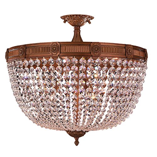 Worldwide Lighting Winchester Collection 9 Light French Gold Finish and Clear Crystal Semi Flush Mount Ceiling Light 24