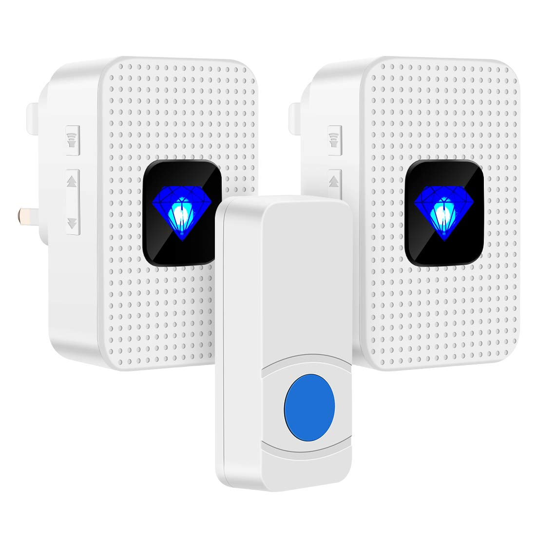 Wireless Doorbell Plug in 2 Receivers ,IP55 Waterproof Battery Door Chime Kit with 1000-Ft Range, 55 Chimes, 5-Level Volume & Blue LED Flash Light AILOVA
