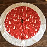 DegGod 48 inch Christmas Decor Tree Skirt, Red and White Snowflakes Large Round Xmas Tree Skirts Base Mat for Christmas Home Party Decorations Ornaments (Red)