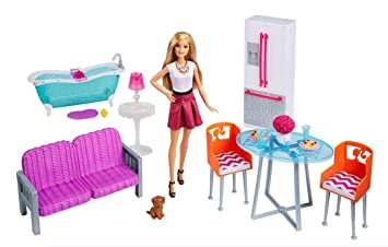 Barbie Doll Furniture Giftset 3 Rooms Kitchen Bath Living Room