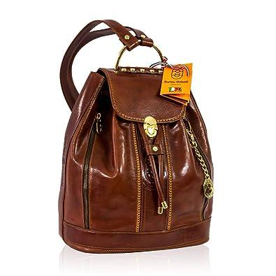 c12bac5da8 Amazon.com: Marino Orlandi Italian Cognac Leather Drawstring Bucket Sling Bag  Backpack: Shoes
