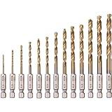 Saiper 13pcs Titanium Coated Twist Drills Bit Set (1.5mm - 6.5mm), 1/4' Hex Shank Quick Change Drill Bits for Steel…