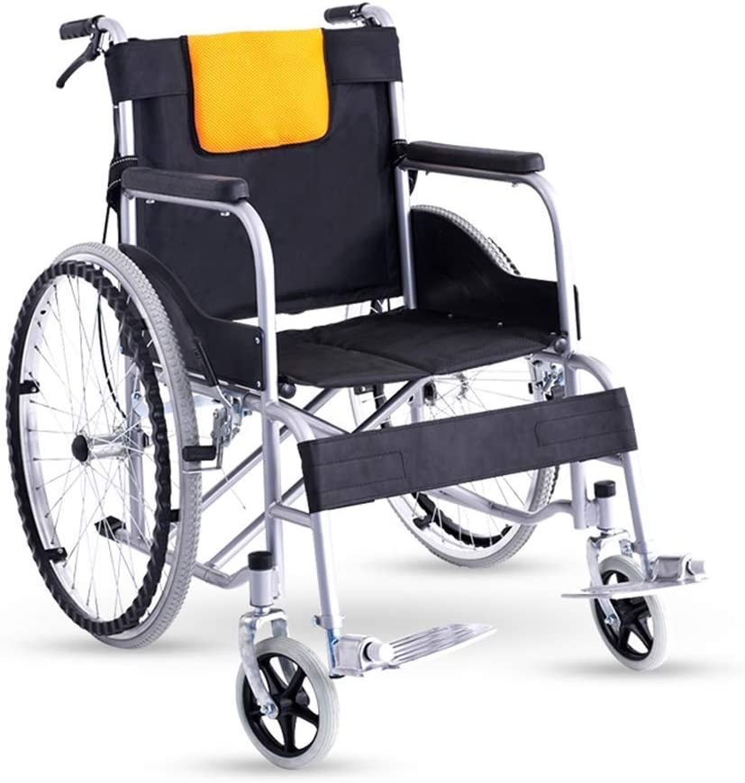 MJY Silla de ruedas plegable ligera, conducción médica, silla de ruedas, cochecito para ancianos, motocicleta vieja, viajes para discapacitados fdg