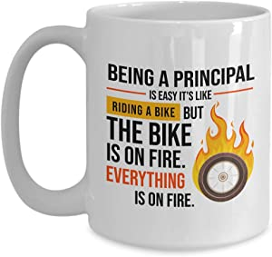 Principal Coffee Mug 15 Oz - Being A Principal Is Easy It's Like Riding A Bike - Gift For Student Graduation College Anniv Mother's Day Job