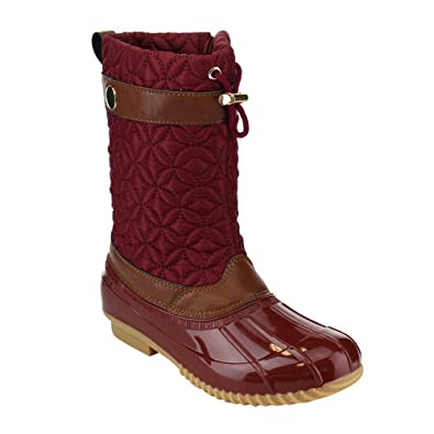 MARCY-26 Women's Casual Side Zipper Flat Snow Ankle Bootie Color:WINE Size:6