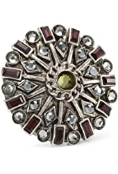 "Sorrelli ""Concrete Jungle"" Starburst with Swarovski Crystals Adjustable Ring"