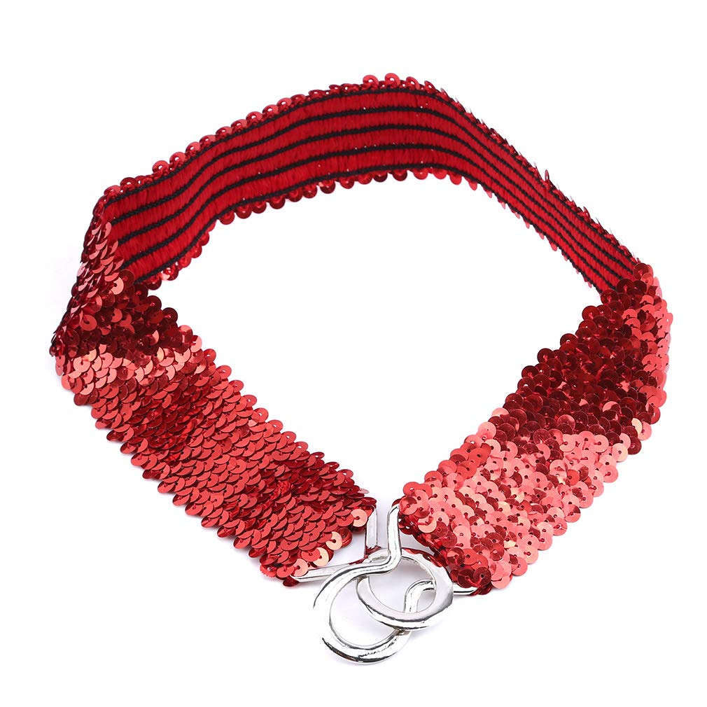 EH-LIFE Women Waistband Lady Glitter Elastic Buckle Girdle Belt Sequins Shining Bling Clothes Dress Decoration Accessories Red