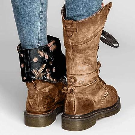 Botas Biker Planas tacón bajo Mujer Invierno PAOLIAN Botas Militares de Piel cuña con Cordones Forradas Piel Botas Camperas Medio Retro Zapatos Cuero Señora Calzado Otoño 36-41