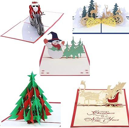 Uniqstore 5 Pack de tarjetas de felicitación navideñas en 3D Tarjetas de Navidad para Navidad/Año Nuevo: Amazon.es: Oficina y papelería