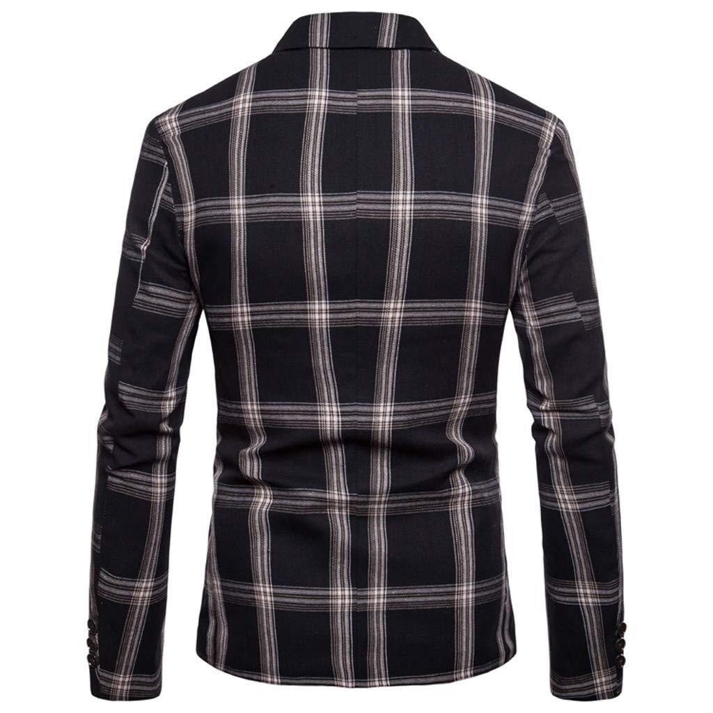 Baiggooswt Mens Lapel Plaid Print Blazer Coat Slim Fit One Button Suit Jacket Pocket Striped Print Office Coat Party Tops
