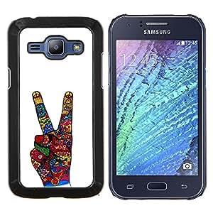 TECHCASE---Cubierta de la caja de protección para la piel dura ** Samsung Galaxy J1 J100 ** --La victoria Gesto de mano blanca abstracta