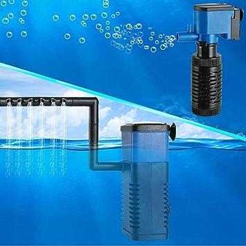 JohnJohnsen Mini multifunción 3 en 1 Acuario de oxigenación Interna Aumentador Filtro 4W pecera Bomba Sumergible Spray purificador de Agua (Negro y Azul): ...