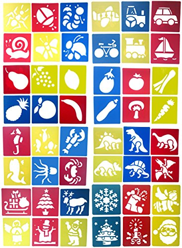 Wolpark 48 Pieces Kids Stencils Plastic Drawing Painting Stencil Templates for Child Crafts - Washable Template for School Projects - Random Colors