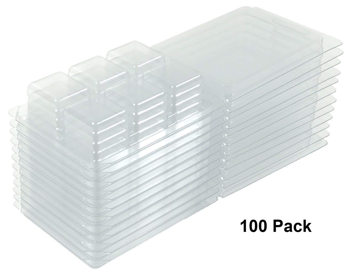 Bettli Clamshell Molds and Packaging 6-Cavity for Candle and Soap Making - 6 Large 1 Ounce Cells - Holds 2.75 oz Capacity - Quantity 100 Pack