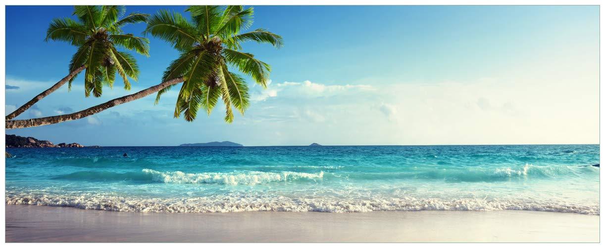 Wallario Wallario Wallario Acrylglasbild Sandstrand auf Den Seychellen - Urlaub unter Palmen - 50 x 125 cm in Premium-Qualität  Brillante Farben, freischwebende Optik 75f90c