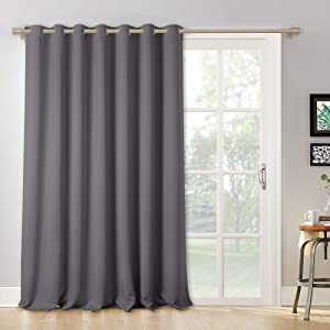 RYB HOME Blackout Patio Door Curtain - Window Treatment Curtain Shades Room Divider Curtain Thermal Insulated Vertical Blind Drapes for Sliding Glass Door, Wide 100 x Long 95 inch, Grey