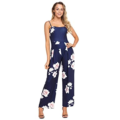 Mercantil Express New Women Floral Print Wide Leg Jumpsuits Boho Fashion Sleeveless Hammock Summer Palazzo Hollow
