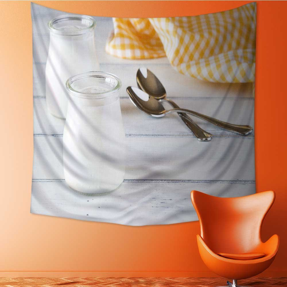 Muyindo Elastic Fabric Tapestry,yogurt yellow napkin and spoon on white painted wood Home Decor/43.3W x 43.3L INCH