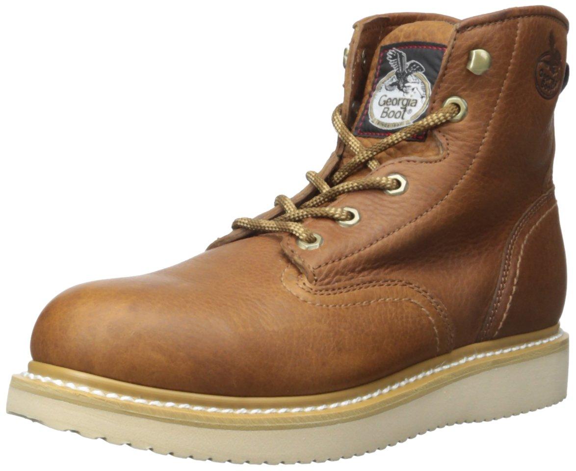 Georgia Men's Steel Toe Wedge Farm & Ranch Boots, Barracuda Gold, 7.5 M US