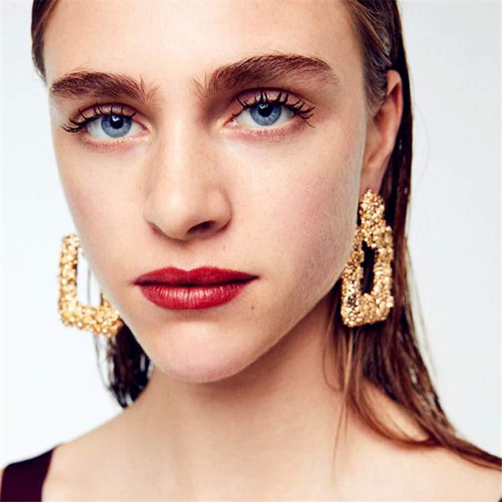 ATIMIGO Statement Drop Earrings Large Metal Crystal Geometric Dangle Earrings Silver//Gold for Women Girls