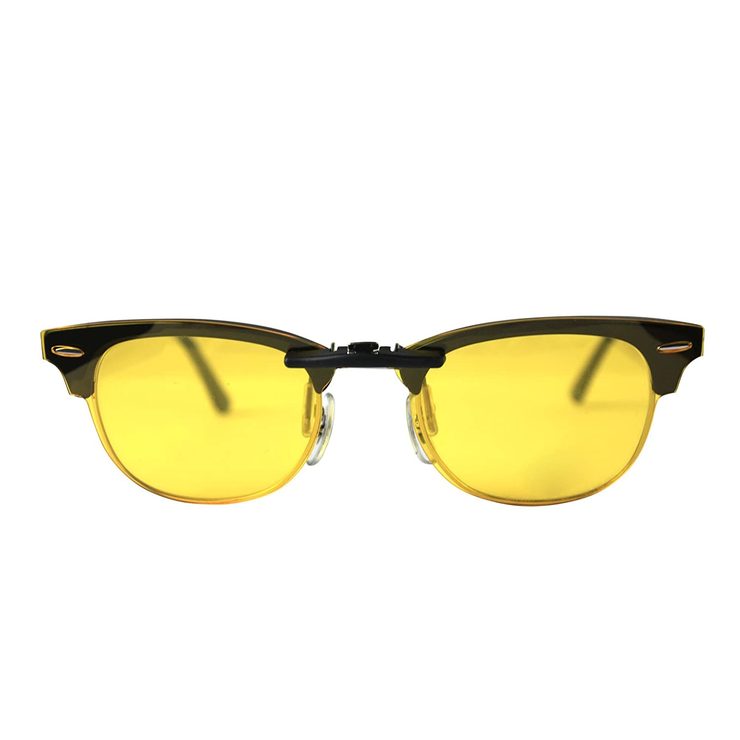 dd5dda4ca5 Custom Polarized CLIP-ON Sunglasses for Ray-Ban CLUBMASTER RB5154 49X21  5154(No Frame) night vision Yellow - - Amazon.com