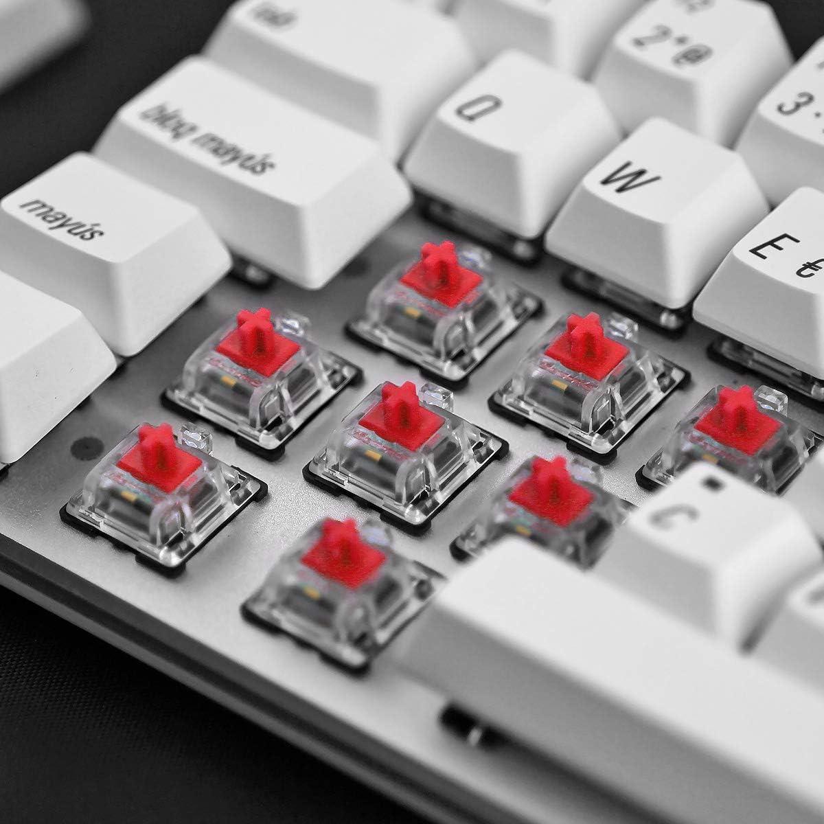 Qisan Cableado Mecánico Cableado Teclado de Juego Teclas PBT 69 Teclas Gateron Rojo Interruptor Blanco Retroiluminado ES QWERTY Disposición Juego ...