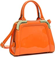 Dasein Women Small Patent Leather Satchel Handbags Structured Purse Shoulder Bag