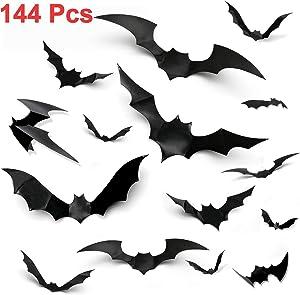 144PCS Halloween Bats Decorations 3D Scary Bats Wall Stickers for Home Window Décor Halloween Wall Decals Bats Halloween Decorations Indoor Outdoor Front Door Bathroom Halloween Party Supplies DIY Art
