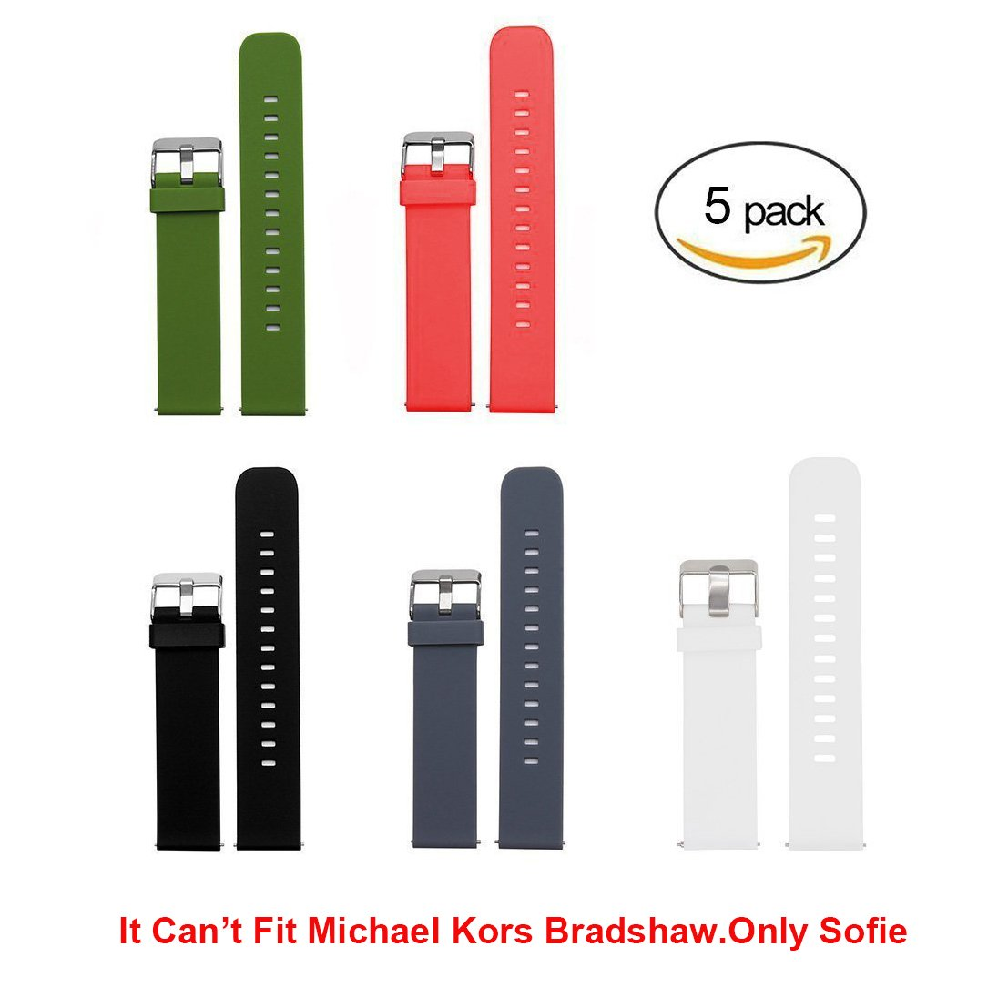 Lamshaw Smartwatch Band for Michael Kors Access Sofie, Quick Release Classic Silicone Replacement Band for MK Access Sofie Smartwatch (5 pack) by Lamshaw