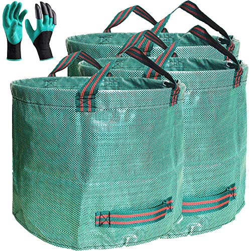 Professional 2-Pack 137 Gallon Lawn Garden Bags (D34, H34 inches) Yard Waste Bags with Coated Gloves - Large Reusable Yard Leaf Bags 4 Handles,Gardening Clippings Bags,Leaf Container,Trash Bags