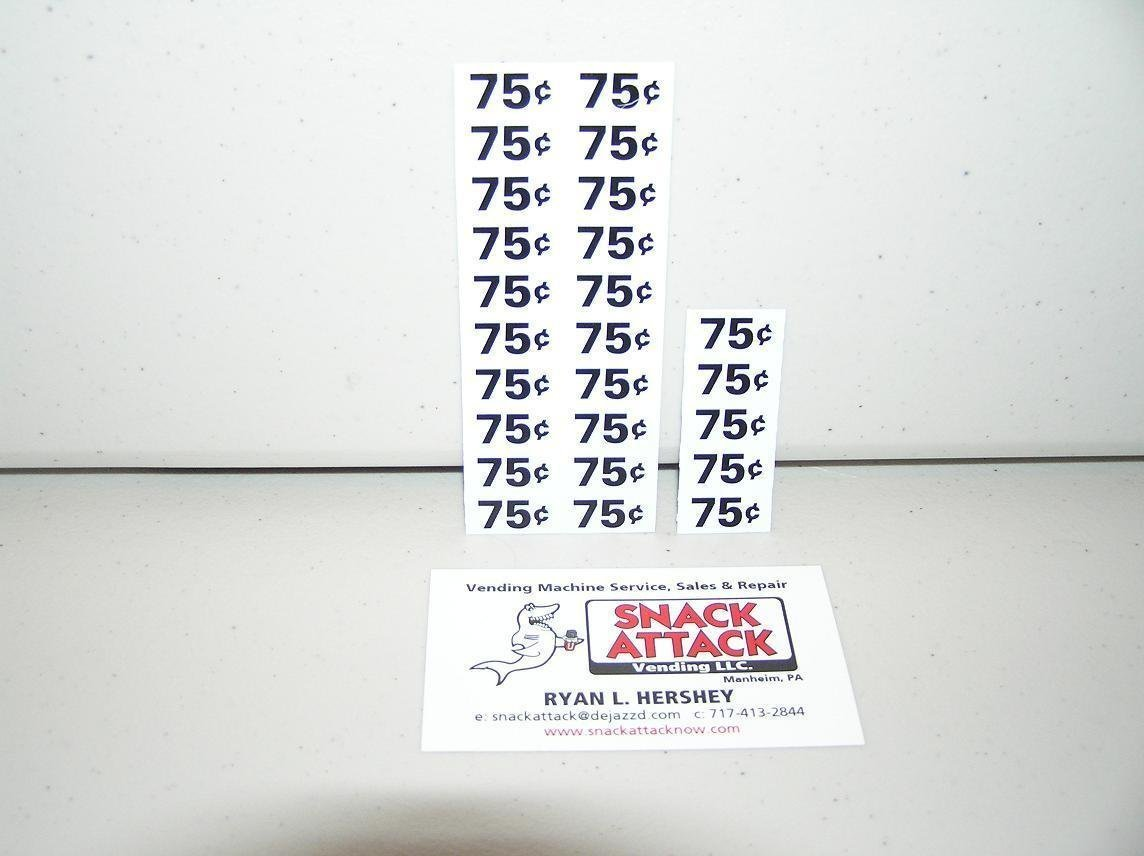 Free Ship! SNACK VENDING MACHINE 75 70 CENTS PRICE LABELS 25