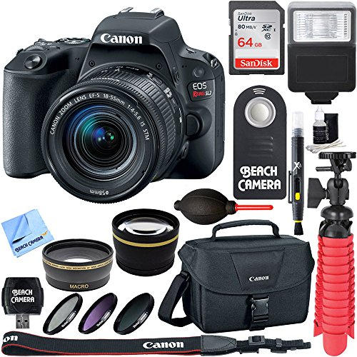 Canon EOS Rebel SL2 Digital SLR Camera + EF-S 18-55mm IS STM Lens Kit + Accessory Bundle 64GB SDXC Memory + DSLR Photo Bag + Wide Angle Lens + 2x Telephoto Lens + Flash + Remote + Tripod & More
